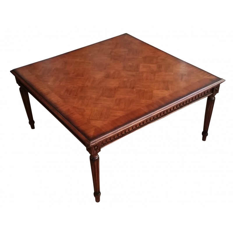 French Parquetry Coffee Table: European Design Square French Occasional Table With