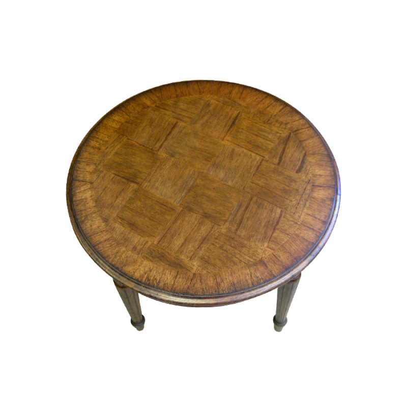 French Parquetry Coffee Table: European Design Small Round French Occasional Table With