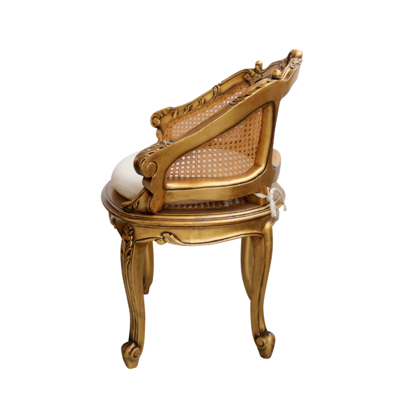 European Design French Louis Xv Rattan Chair In Gilded Finish