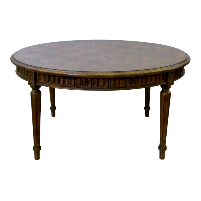 French Parquetry Coffee Table: European Design Round French Occasional Table With