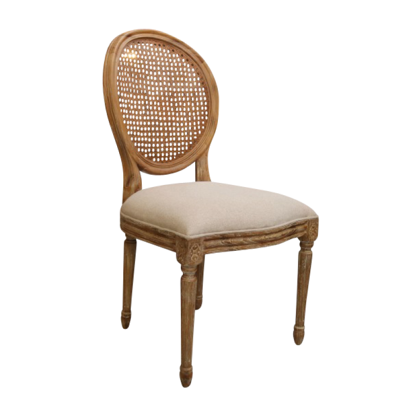 Leather french dining chairs - European Design French Louis Rattan Balloon Back Dining