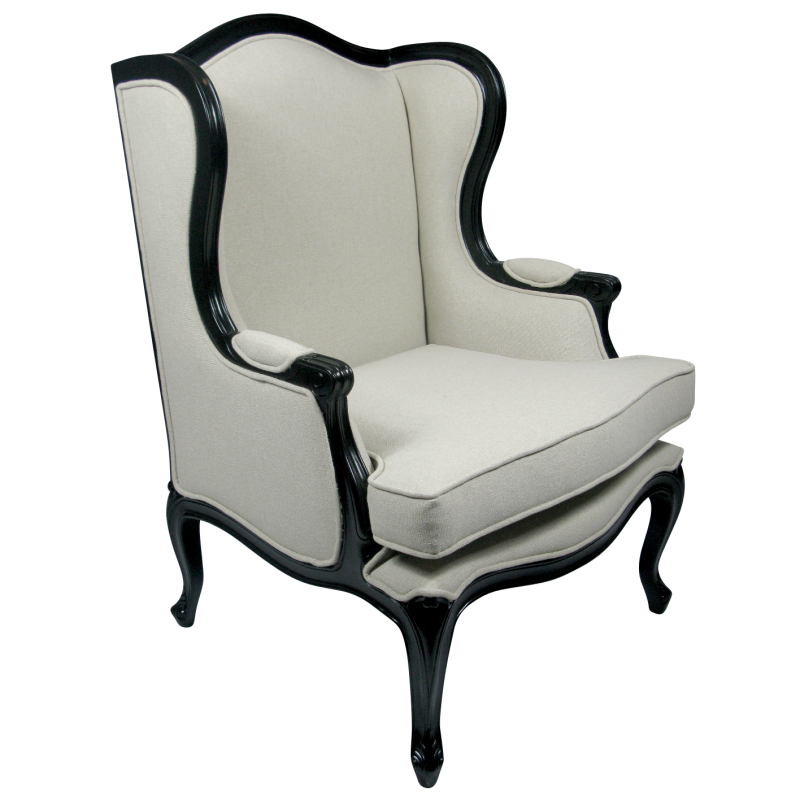 European Design Provincial French Louis Wingback Armchair