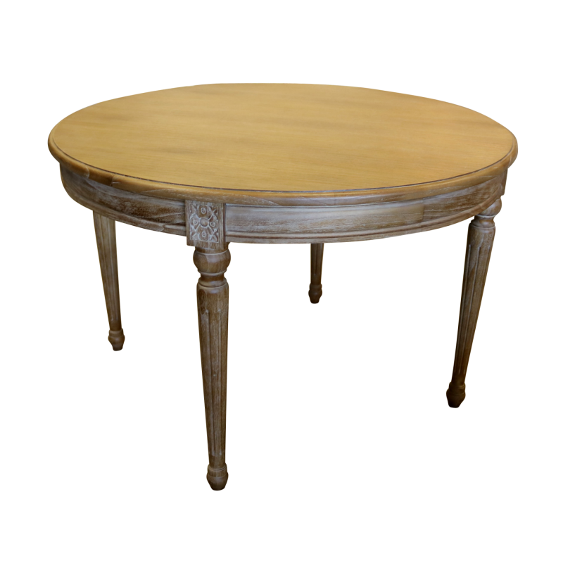 European Design French Louis Round Dining Table In Light Oak