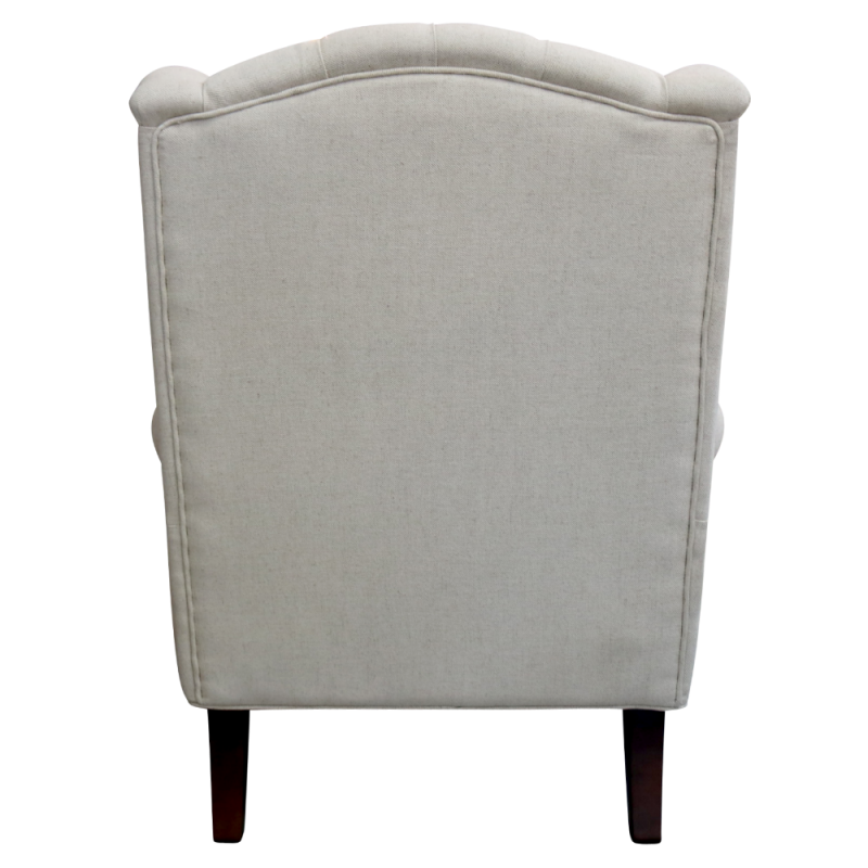 European Design French Upholstered Wing Chair In Linen