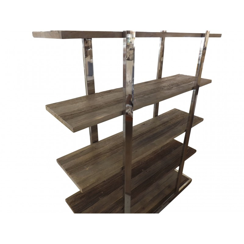 Industrial Bookshelf In Reclaimed Elm And Stainless Steel