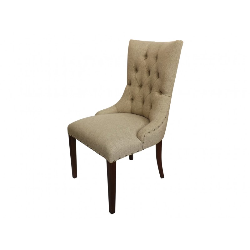 European Design French Tufted Dining Chair In Pale Khaki