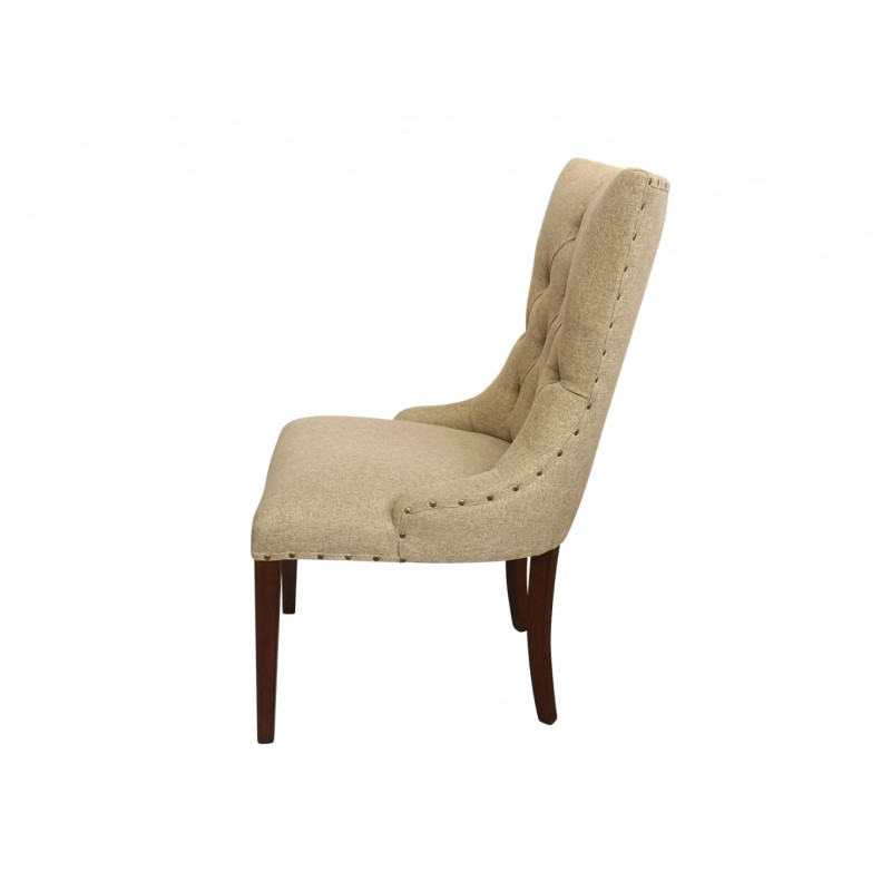 French Upholstered Dining Chair In Pale Khaki Fabric