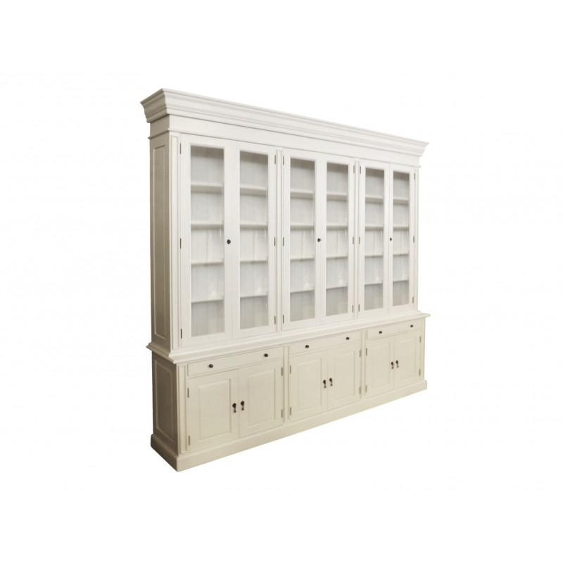 European Design French Provincial Three Bay Bookcase With Glass