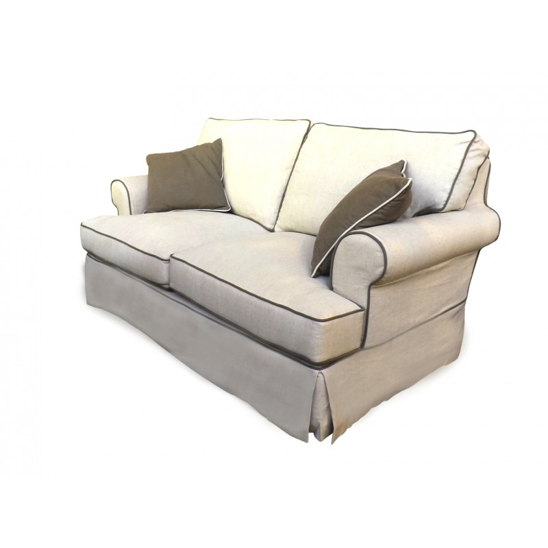 European Design Linen Two Seat Sofa With Contrast Piping