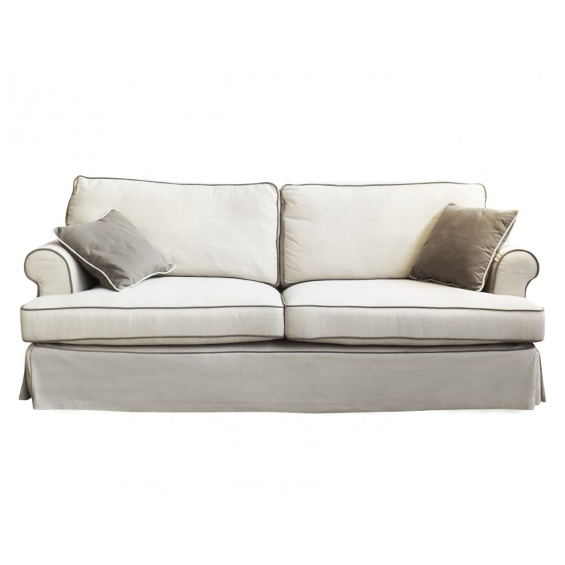 European Design Linen Three Seat Sofa with Contrast Piping in Beige