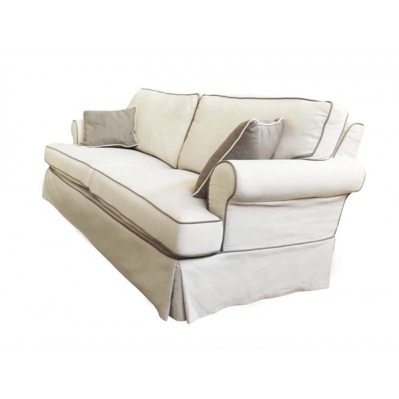 european design linen three seat sofa with contrast piping in beige. Black Bedroom Furniture Sets. Home Design Ideas