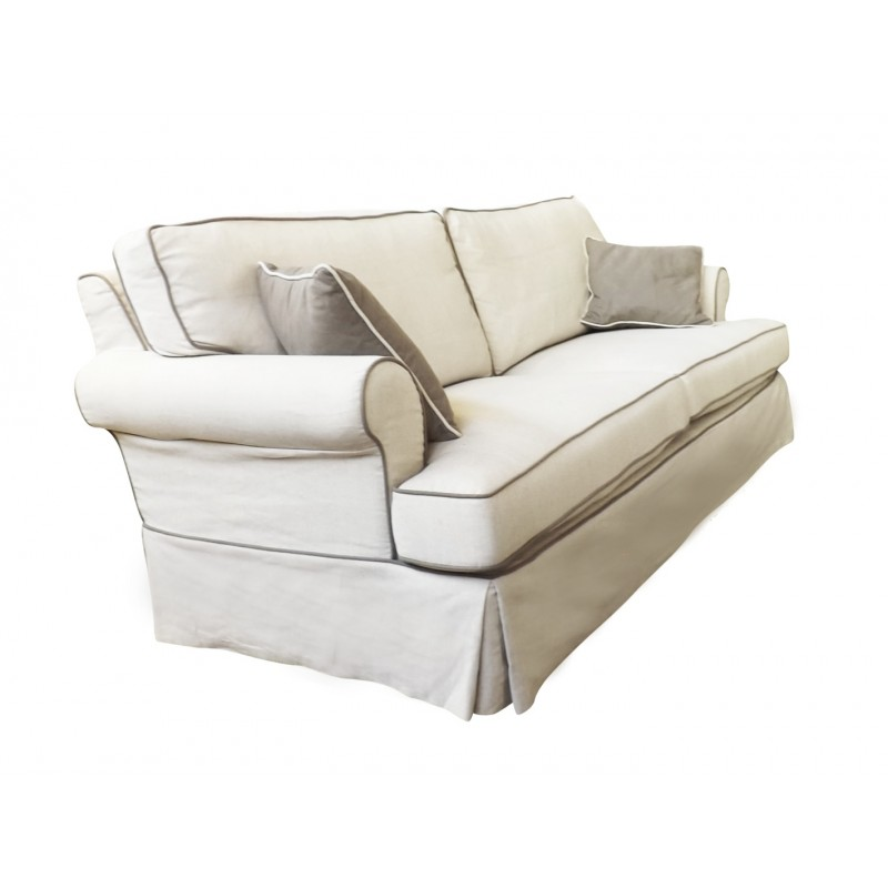 European Design Linen Three Seat Sofa With Contrast Piping
