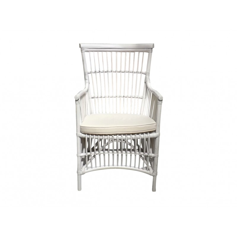European Design Riviera Outdoor Arm Chair In White Rattan