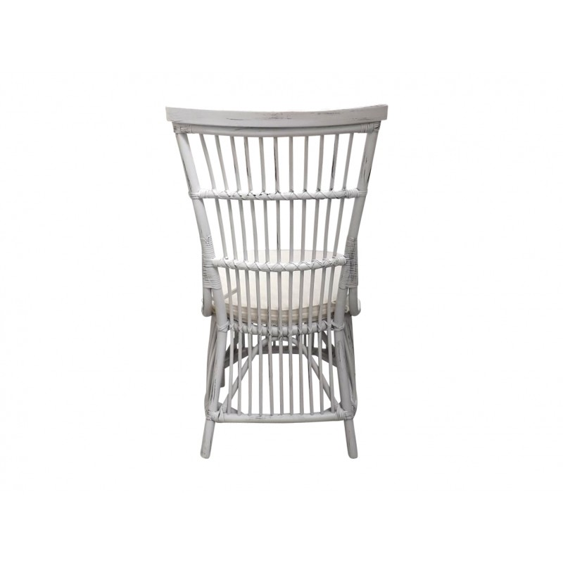 European Design Riviera Outdoor Dining Chair in White Rattan