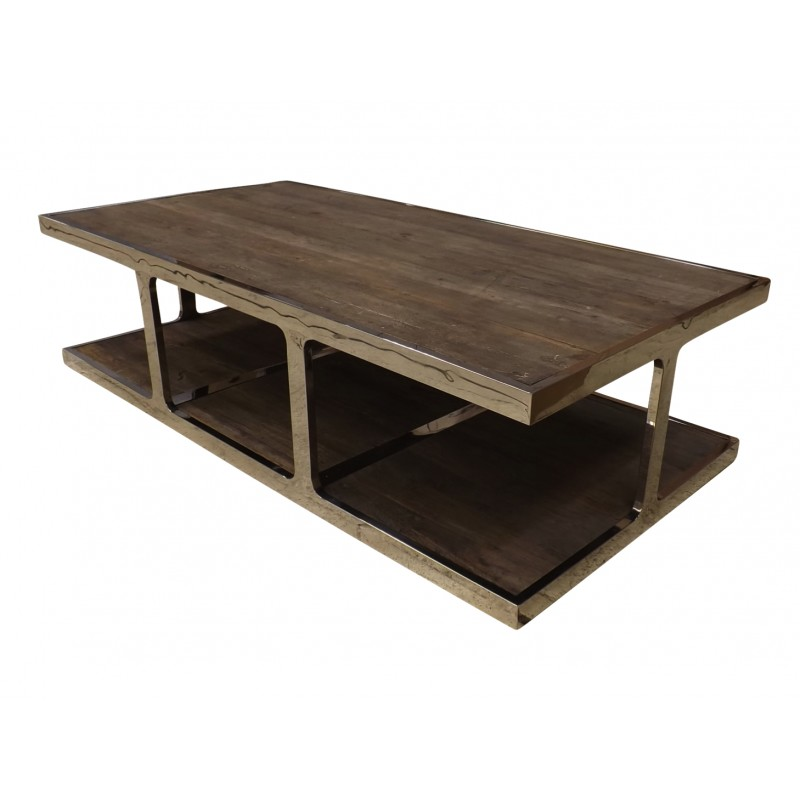 European Design Industrial Coffee Table In Reclaimed Elm And Mirrored Steel