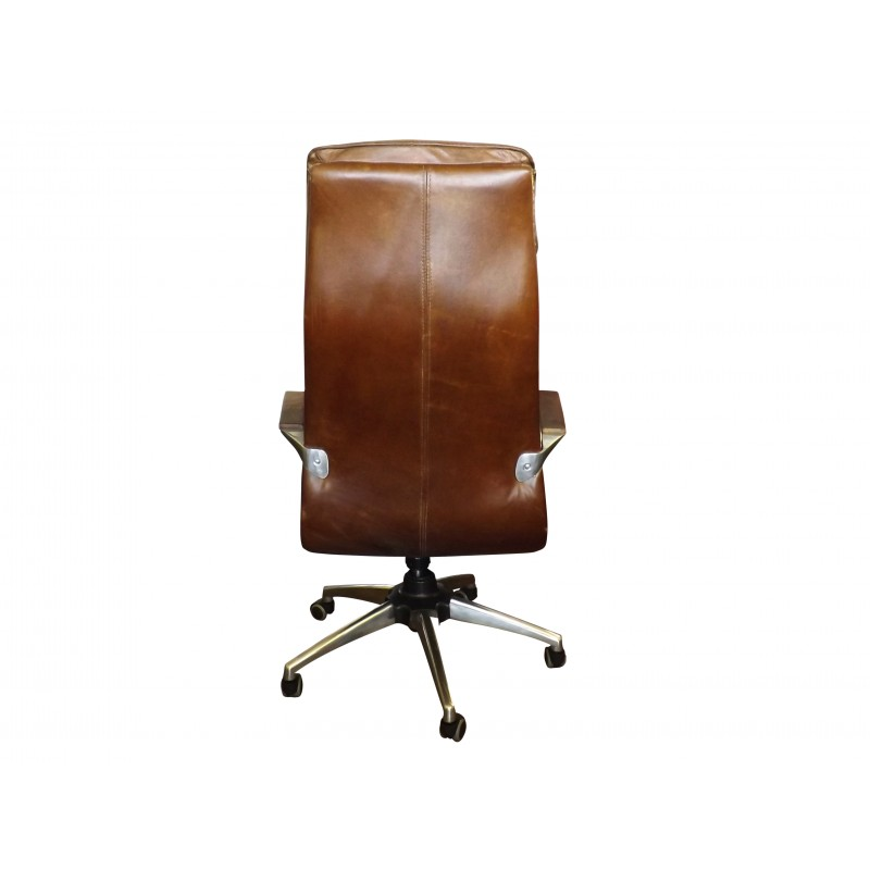 European Design High Back Leather Office Chair On Castors