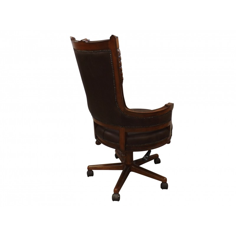 European Design Swivel Office Chair In Brown Leather