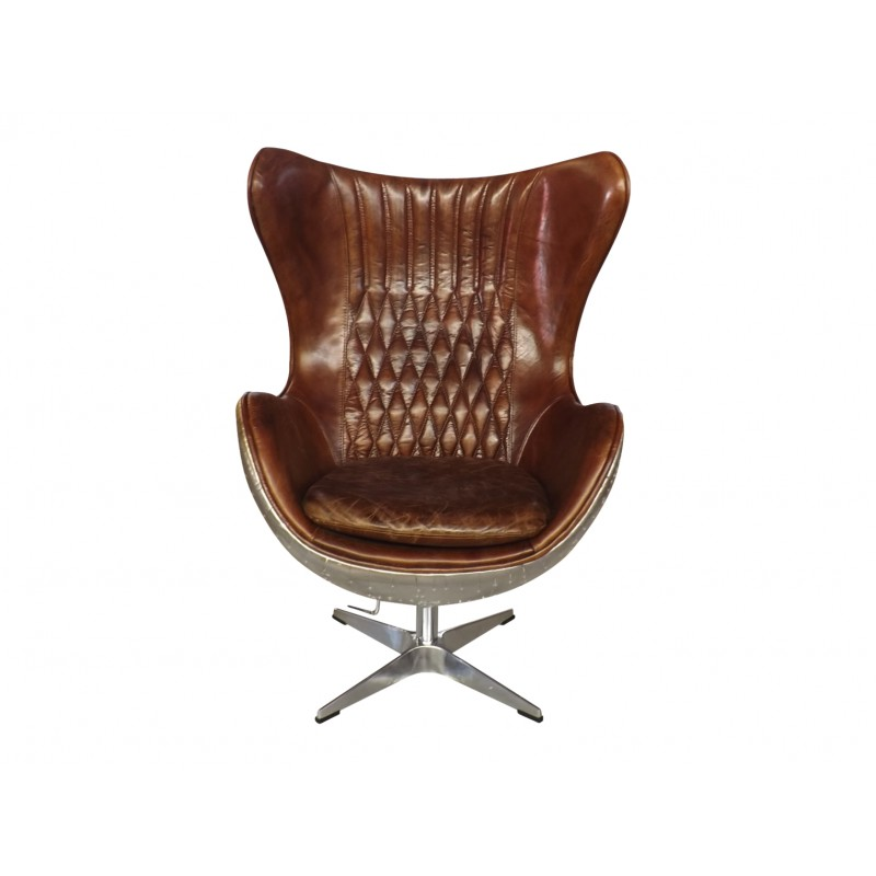 Leather Office Swivel Egg Chair With Brushed Aluminium