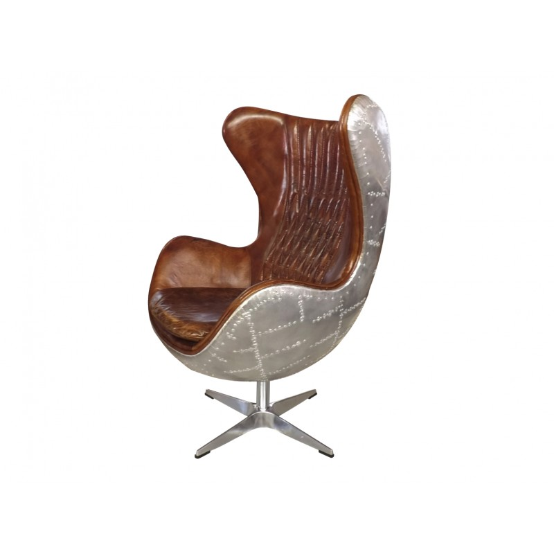 Aviator Egg Chair In Leather And Panelled Aluminium