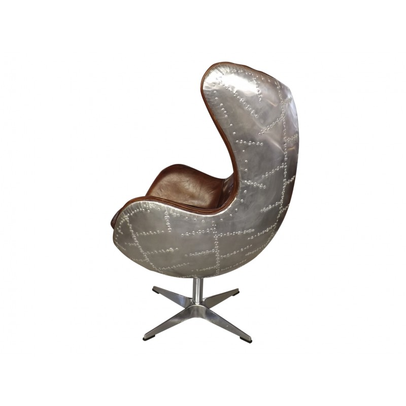 leather office swivel egg chair with brushed aluminium panelling