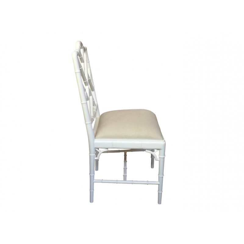 European Design Chinoise Chippendale Dining Chair In White Gloss