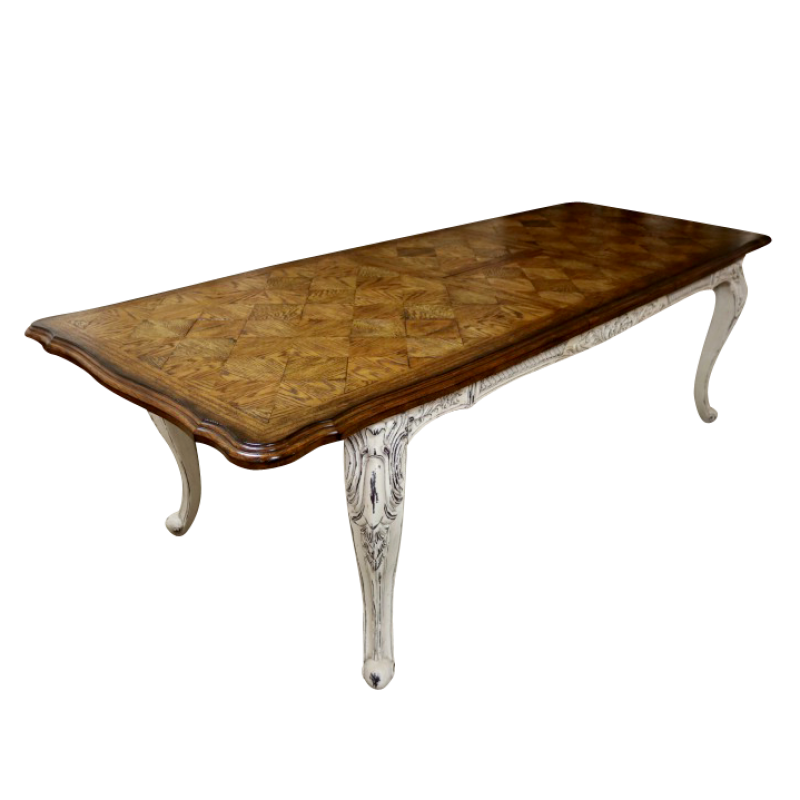 European Design Louis XV Parquetry Extension Dining Table in ...