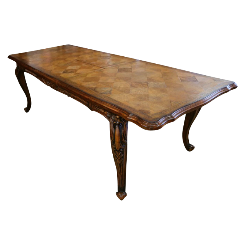 Louis XV Parquetry Extension Dining Table In Golden Brown