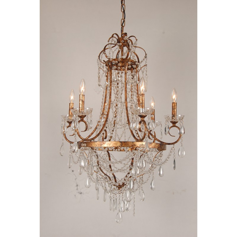 More Views. French Empire Crystal Basket Chandelier - European Design French Empire Crystal Basket Chandelier In Antique Gold