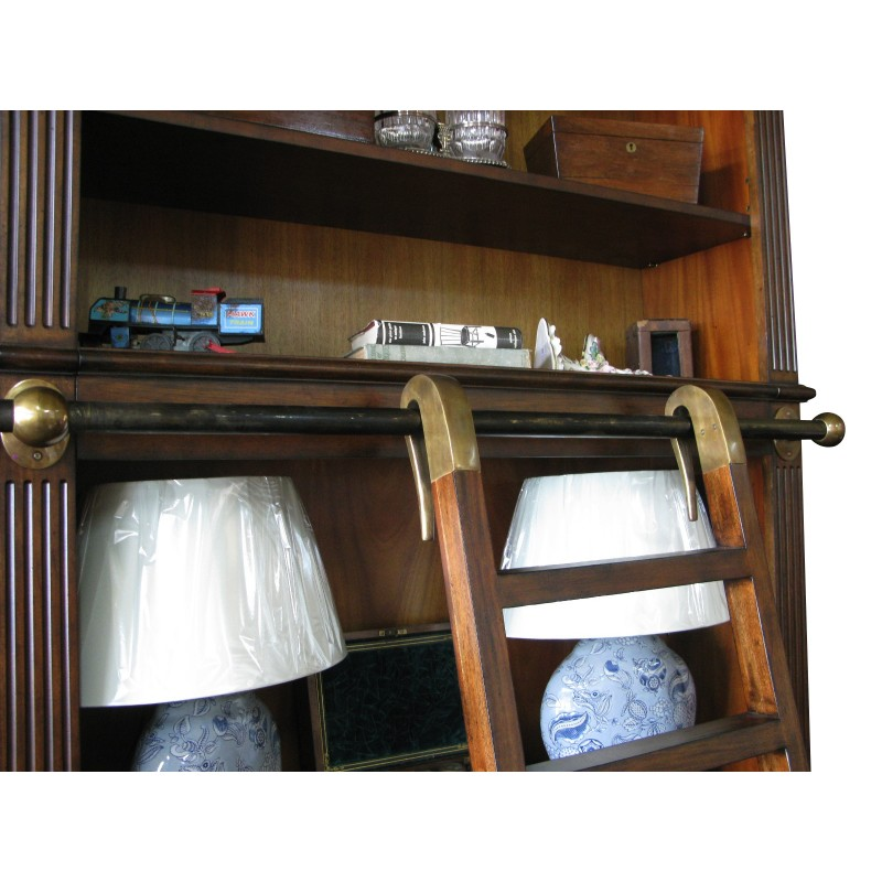 European Design Regency Library Bookcase With Ladder