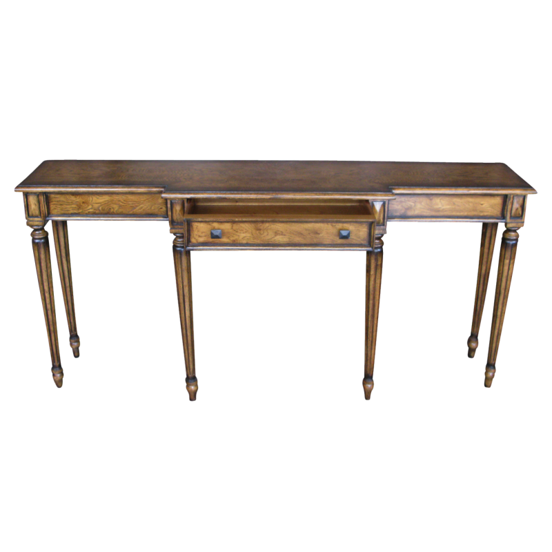 European Design Two Tone Breakfront Console Table