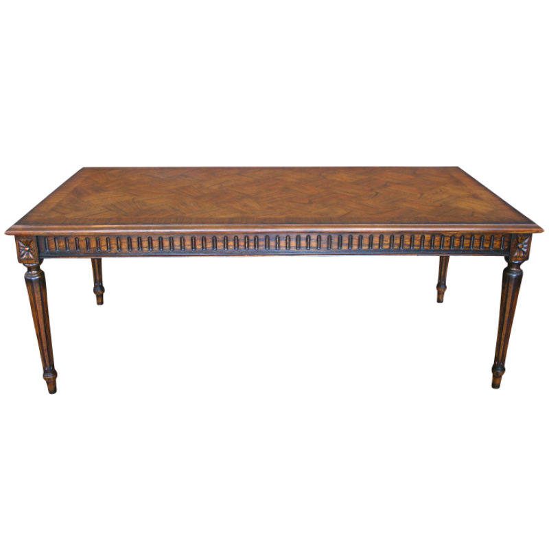 French Parquetry Coffee Table: European Design Rectangular French Occasional Table With