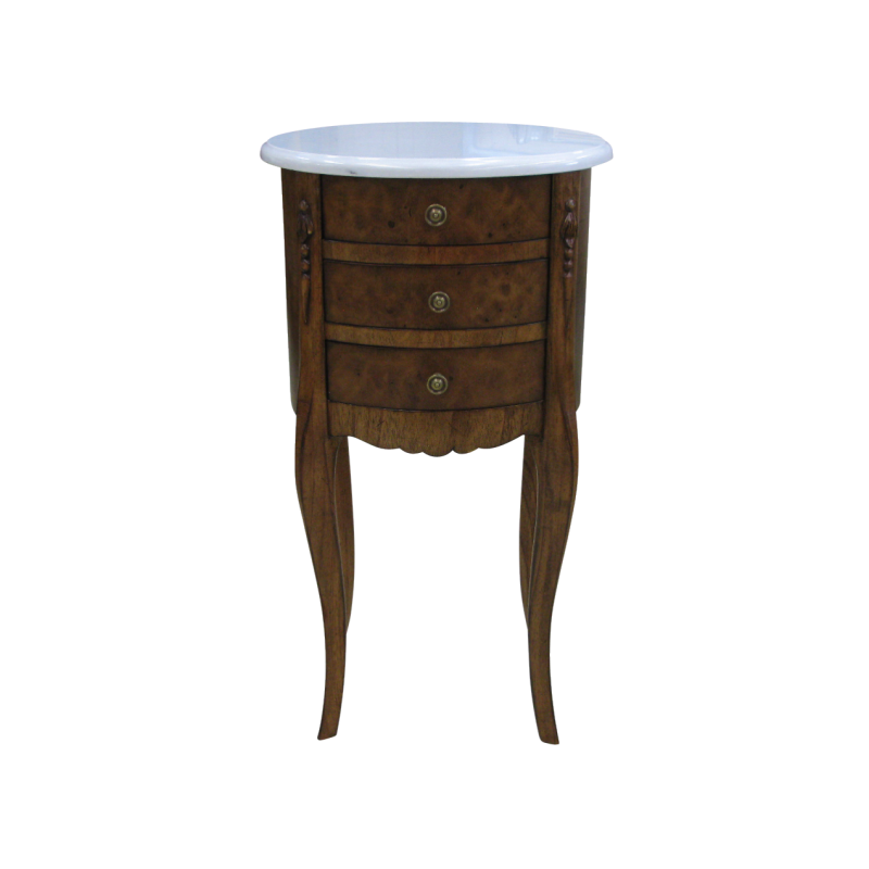 European Design Moreno Oval Side Table In Walnut With