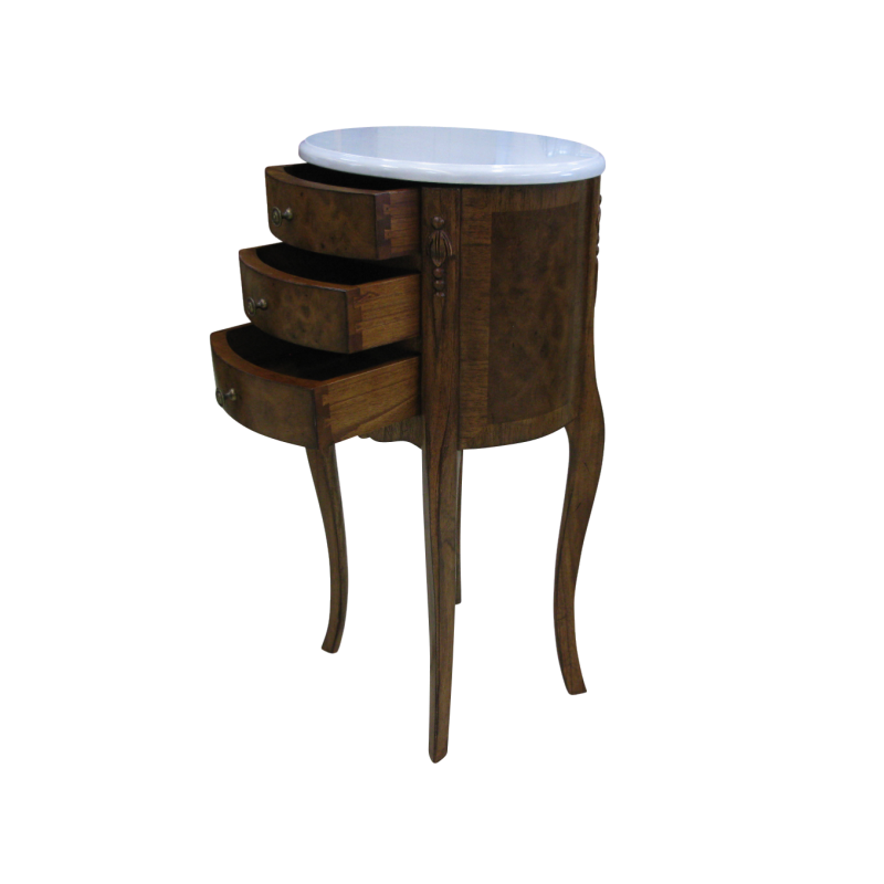 european design moreno oval side table in walnut with white marble top. Black Bedroom Furniture Sets. Home Design Ideas