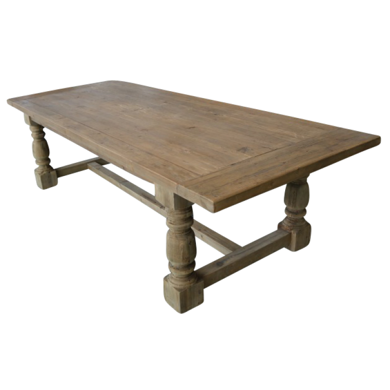 European Design Farmhouse Dining Table in Reclaimed Pine 2 8m