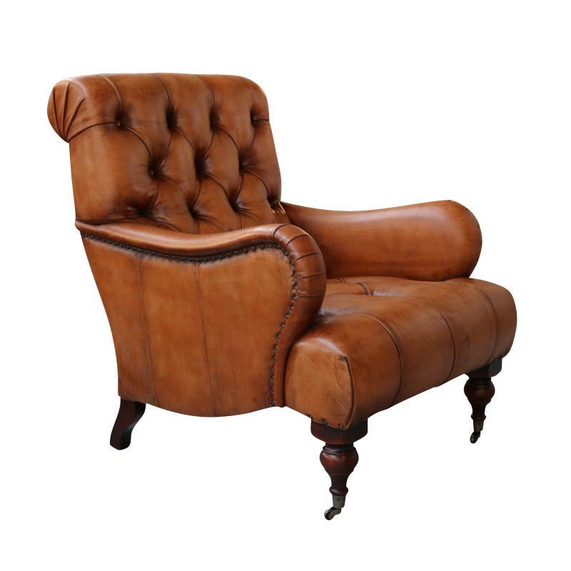 European design tufted high back leather chair for Tufted leather chair design