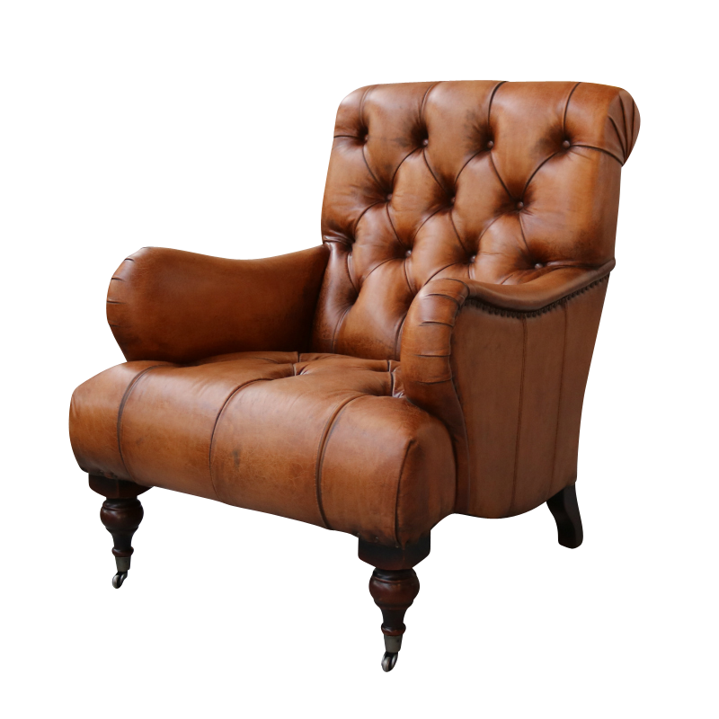 Tufted High Back Leather Chair