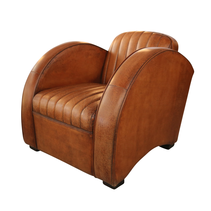 European Design Art Deco Round Arm Chair In Distressed Leather