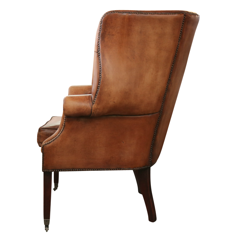 European Design Georgian Tufted Wing Chair In Distressed