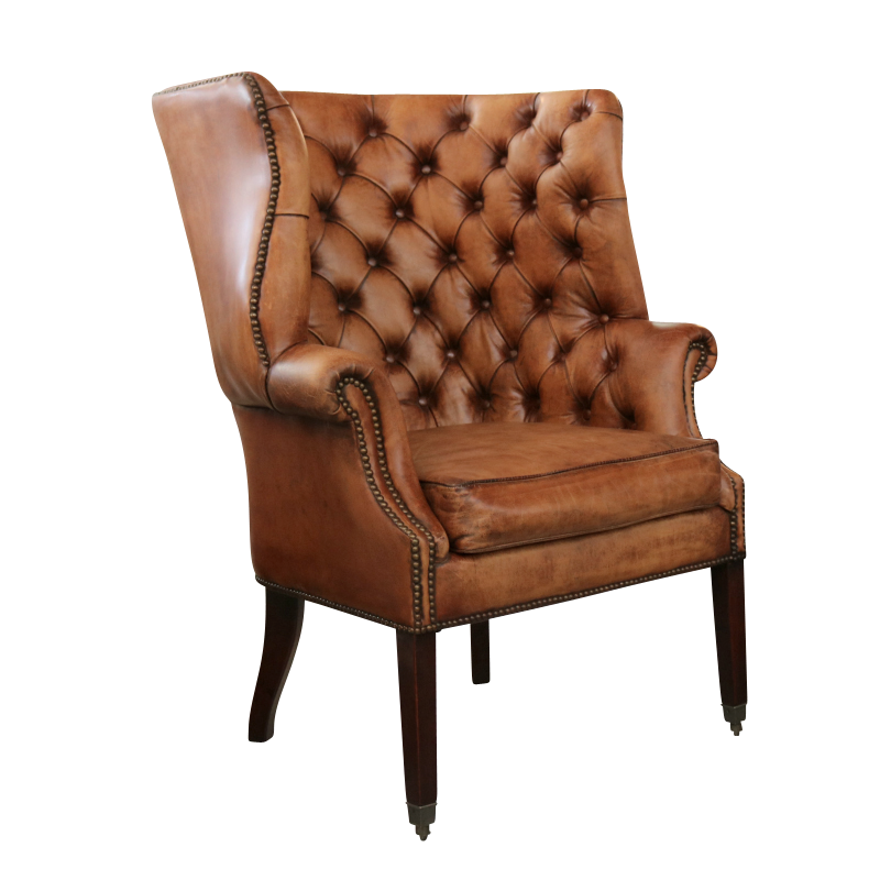 european design georgian tufted wing chair in distressed. Black Bedroom Furniture Sets. Home Design Ideas