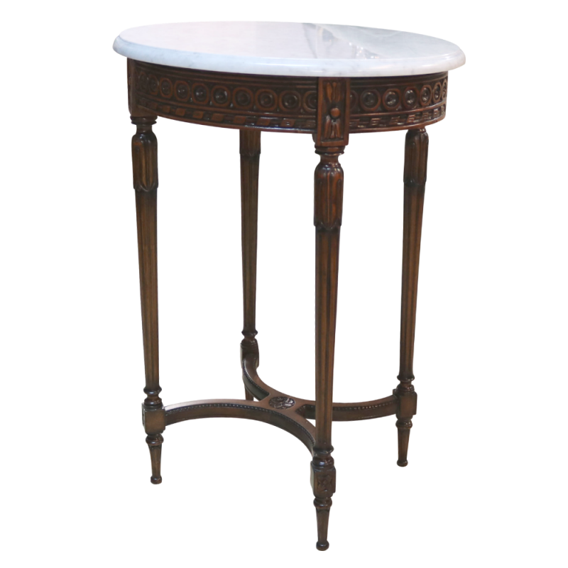 European Design Ornate Oval Side Table With Marble Top