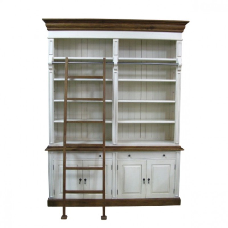 European Design French Provincial Two Bay Bookcase With Ladder In Cream And Natural
