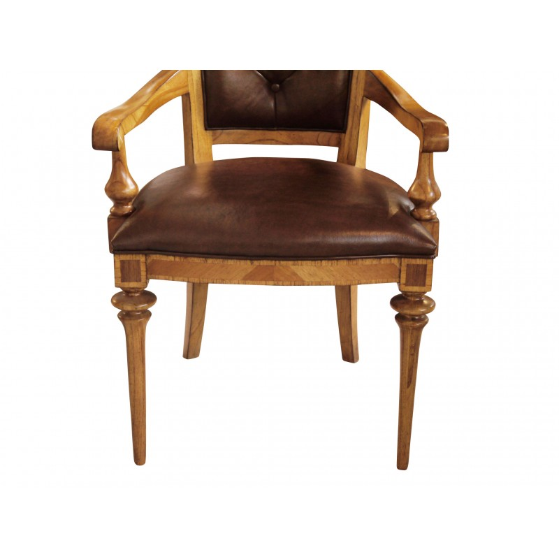 European Design Spire Arm Chair With Leather