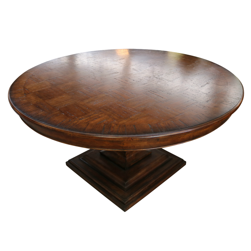 European Design Round Pedestal Dining Table With Parquetry Top