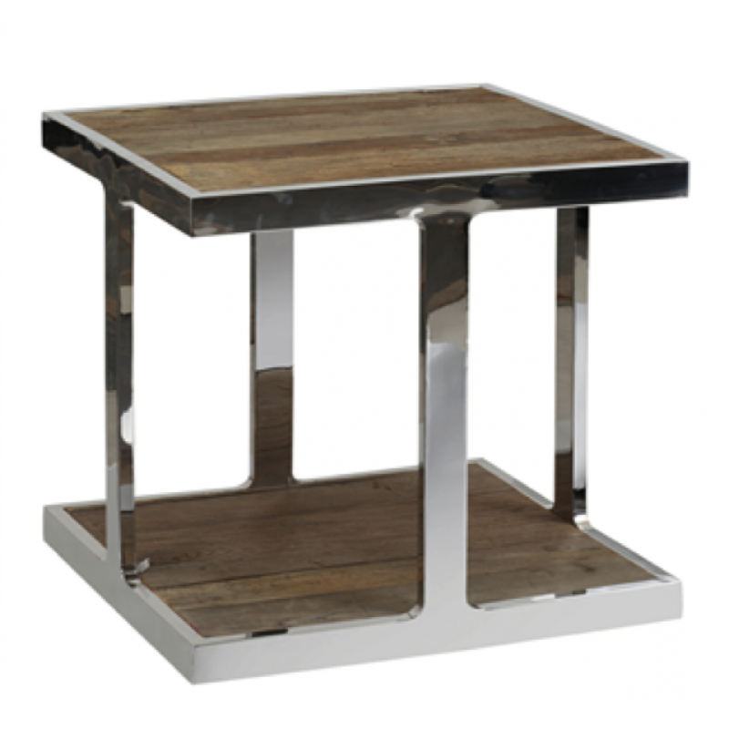 European Design Industrial Side Table In Reclaimed Elm And