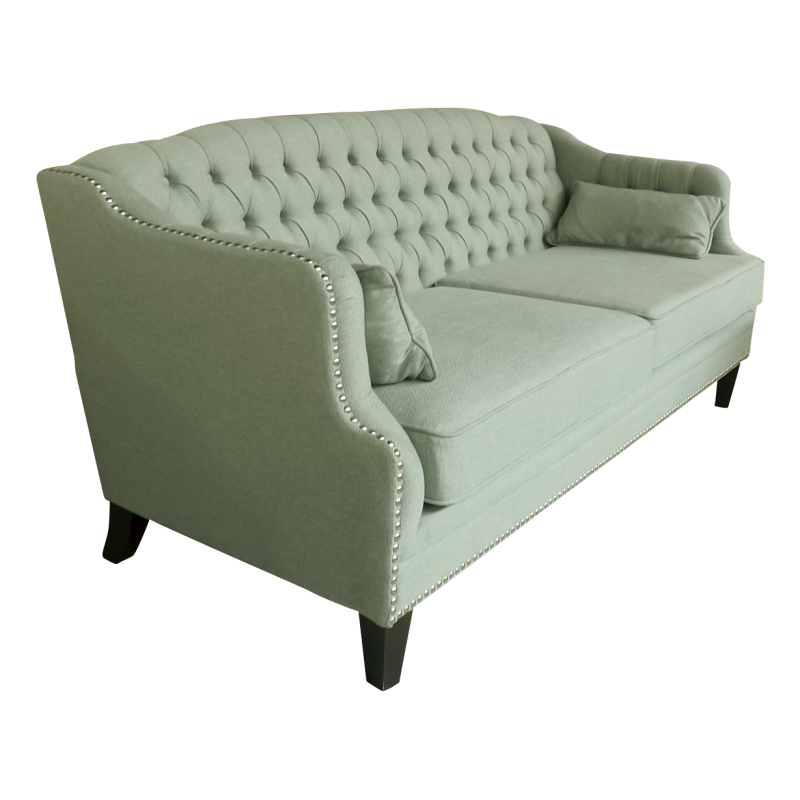 European Design Linen Chesterfield Three Seat Sofa In Deco