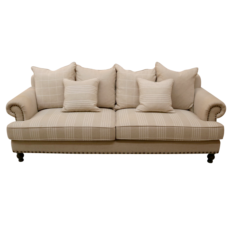 European Design French Linen Three Seat Sofa In Taupe And