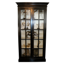 French Country Display Cabinet Black with White Internals