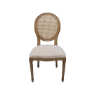 Rustic Country Dining Chair in Weathered Oak Frame and Linen Seat