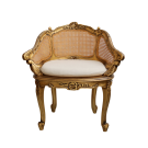 French Louis XV Rattan Chair in Gilded Finish
