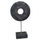 Round Stone Art Decoration on Black Marble Base – Large